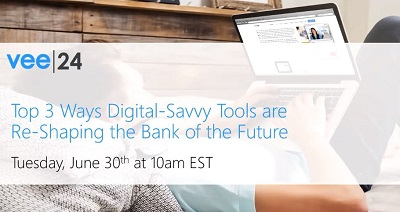 person looking at laptop while lying down with vee24 overlay digital savvy tools re-shaping the bank of the future