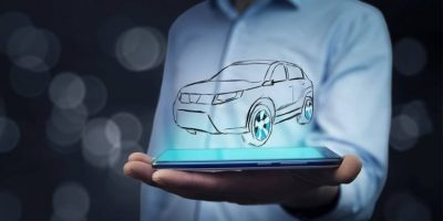 man holding mobile phone outline car hovering above virtual auto shows
